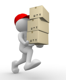 3d people - man, person with carton box ( packages) . Postman